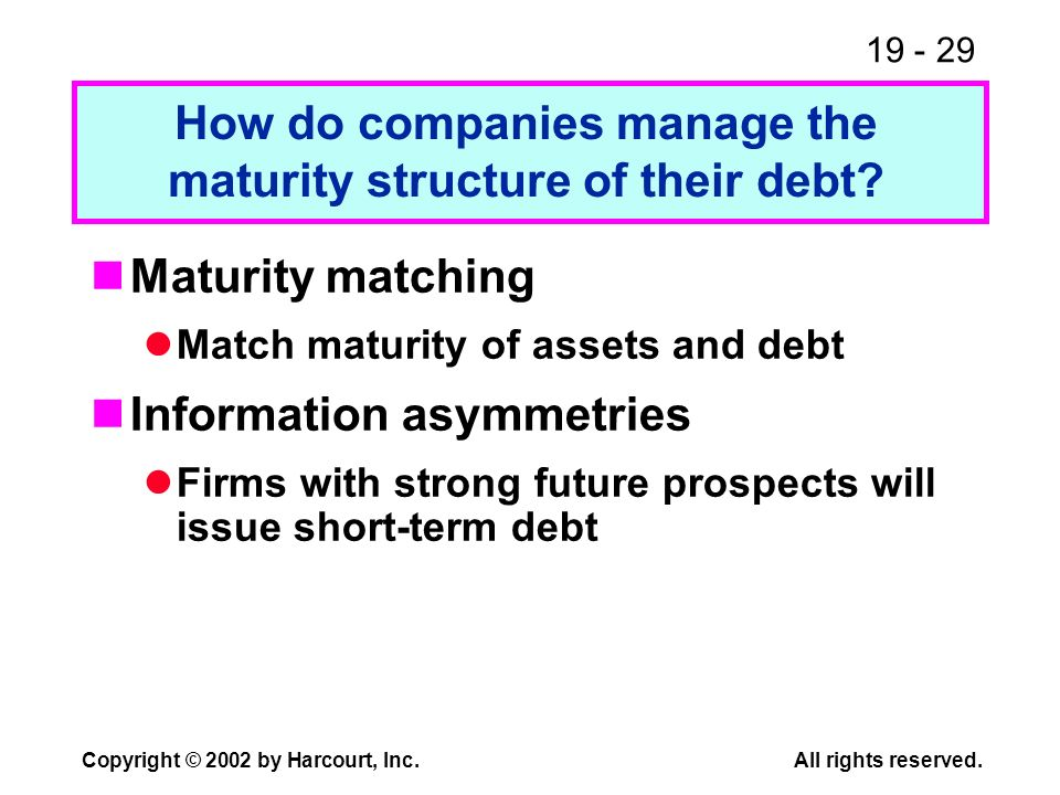 How do companies manage the maturity structure of their debt