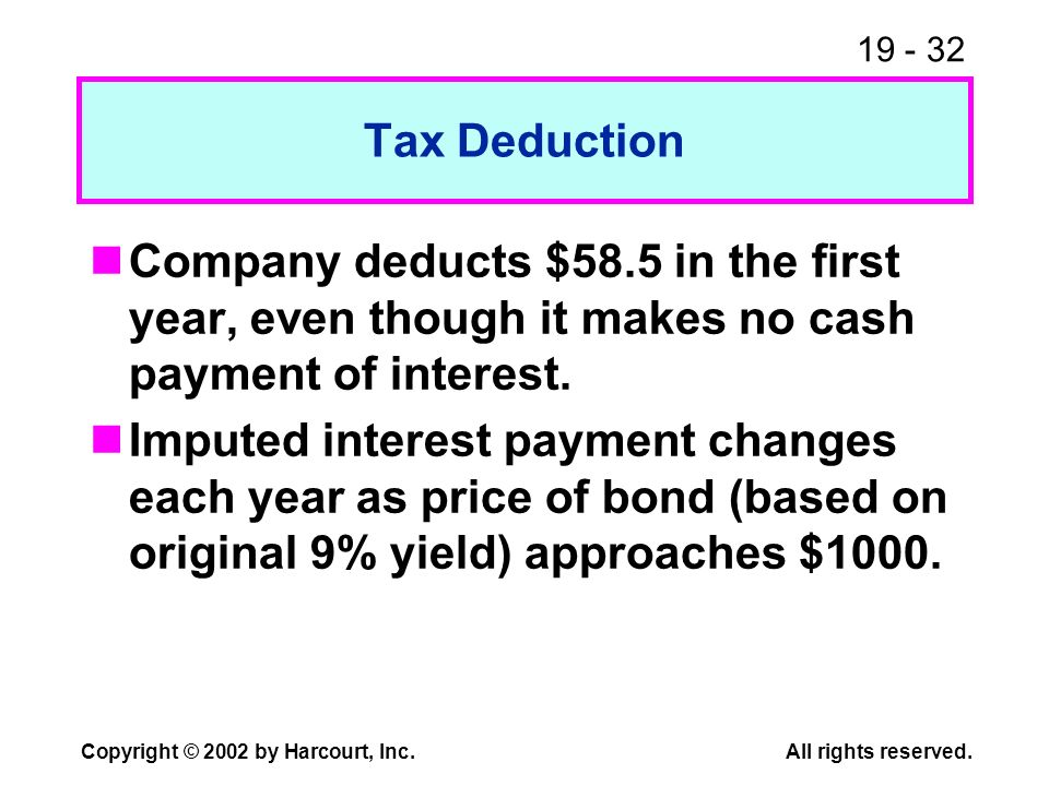 Tax Deduction Company deducts $58.5 in the first year, even though it makes no cash payment of interest.