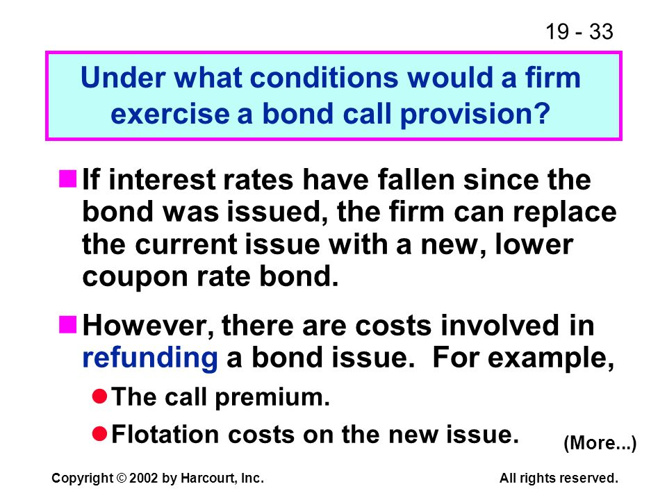 Under what conditions would a firm exercise a bond call provision