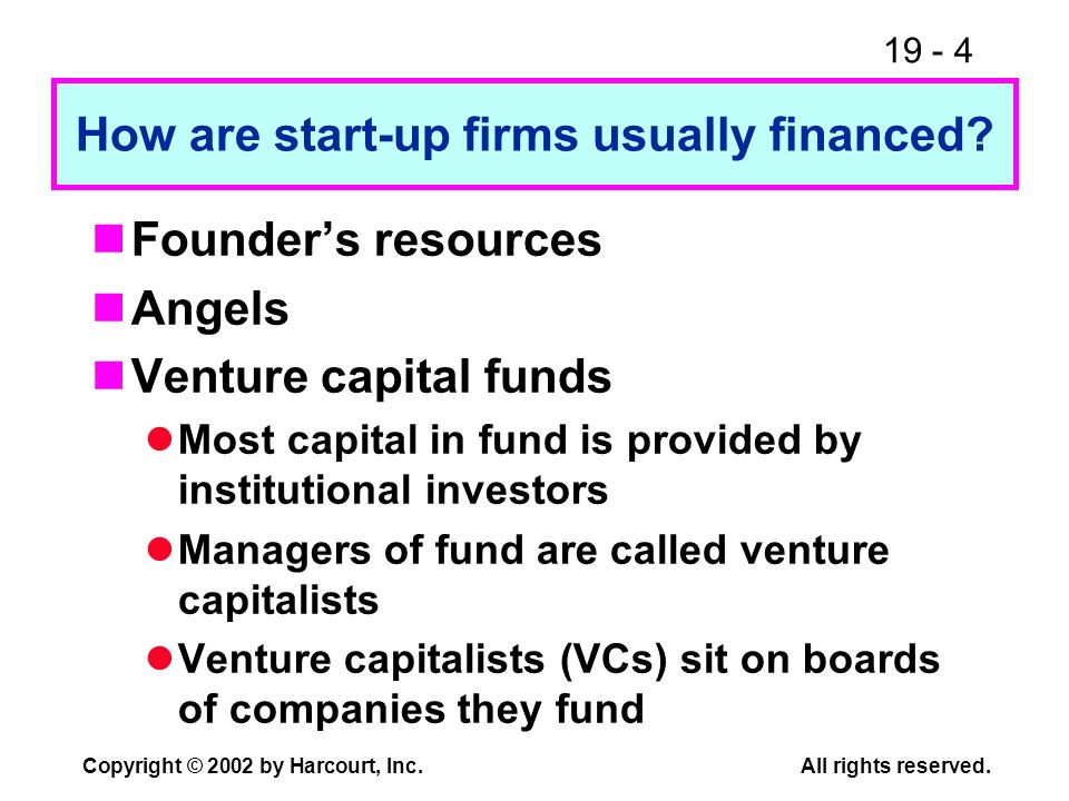 How are start-up firms usually financed