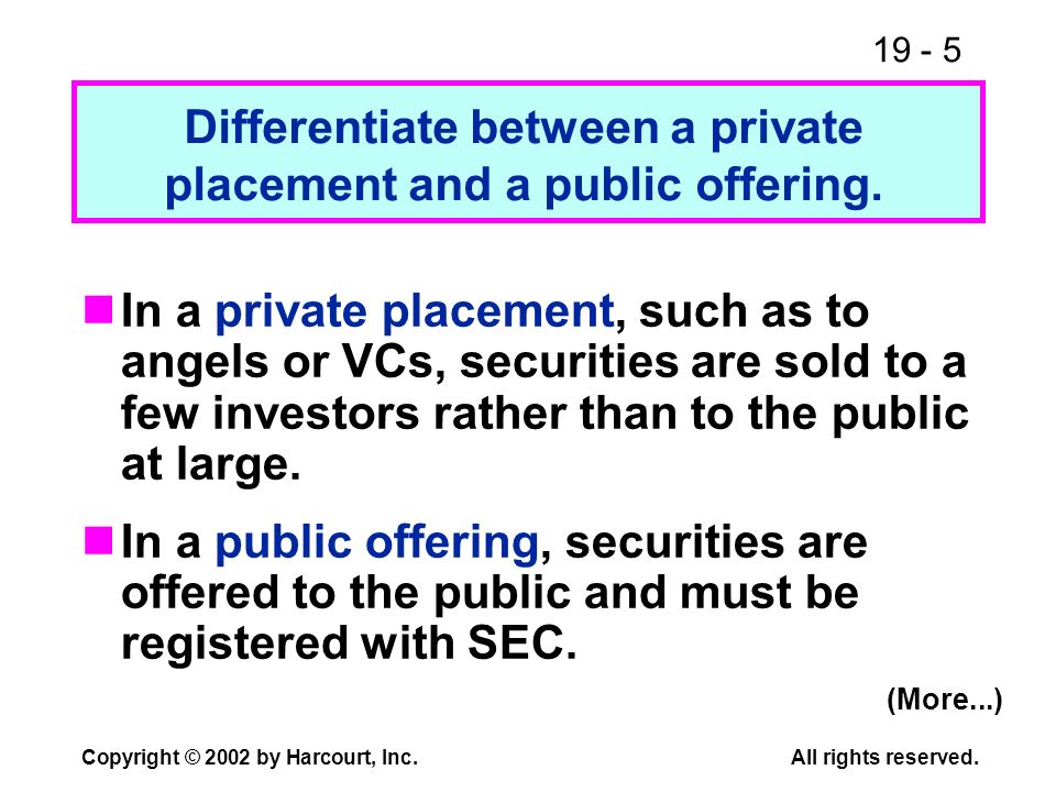 Differentiate between a private placement and a public offering.