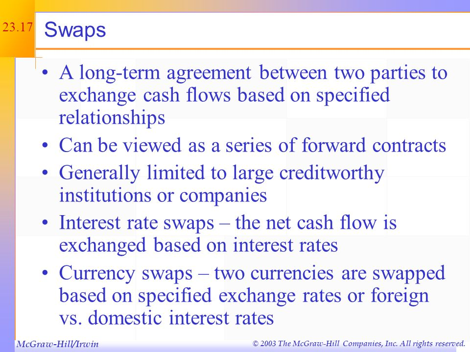 Swaps A long-term agreement between two parties to exchange cash flows based on specified relationships.