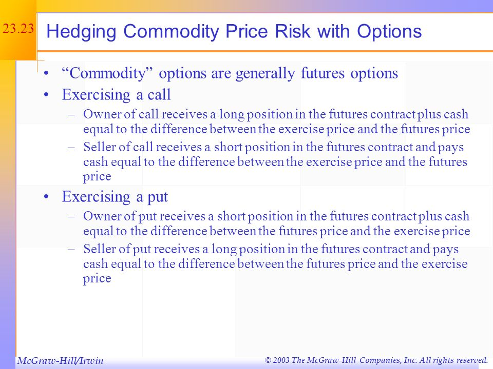 Hedging Commodity Price Risk with Options