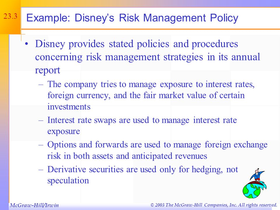 Example: Disney's Risk Management Policy