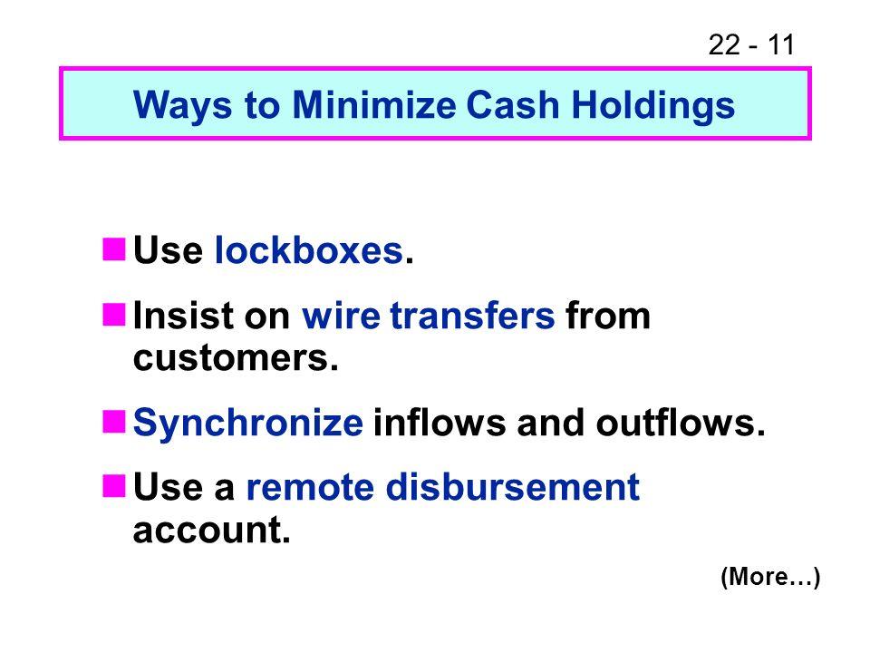 Ways to Minimize Cash Holdings