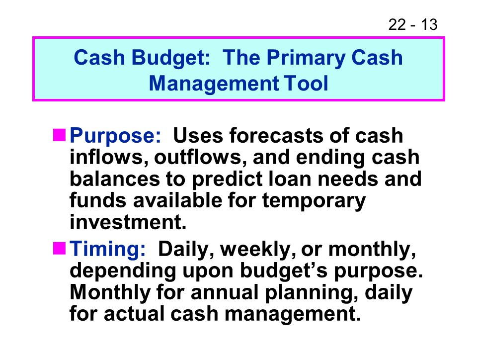 Cash Budget: The Primary Cash Management Tool