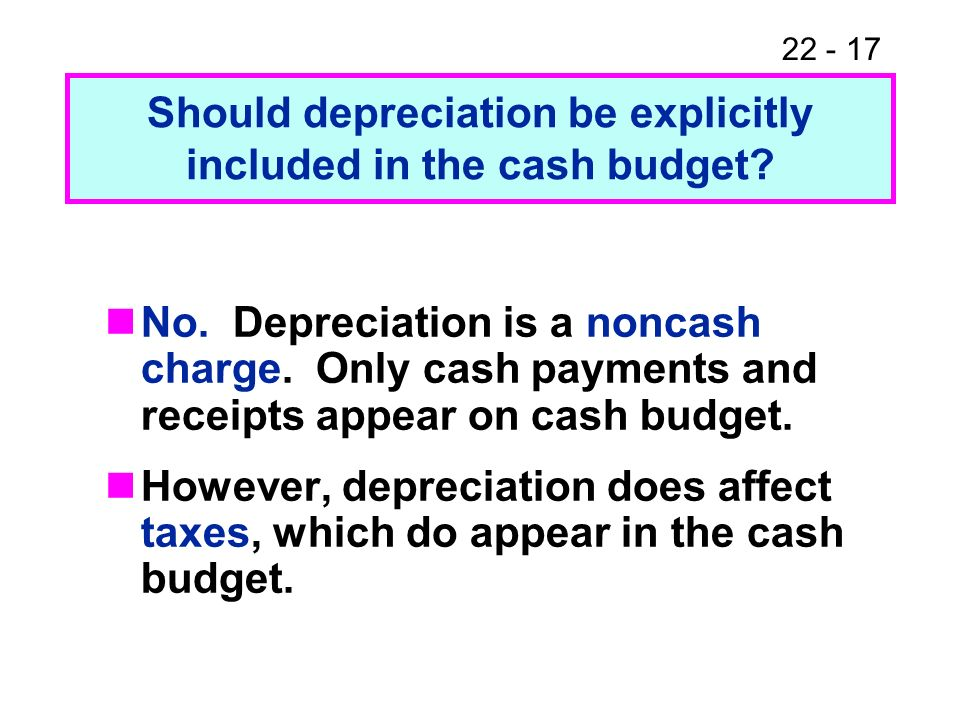 Should depreciation be explicitly included in the cash budget