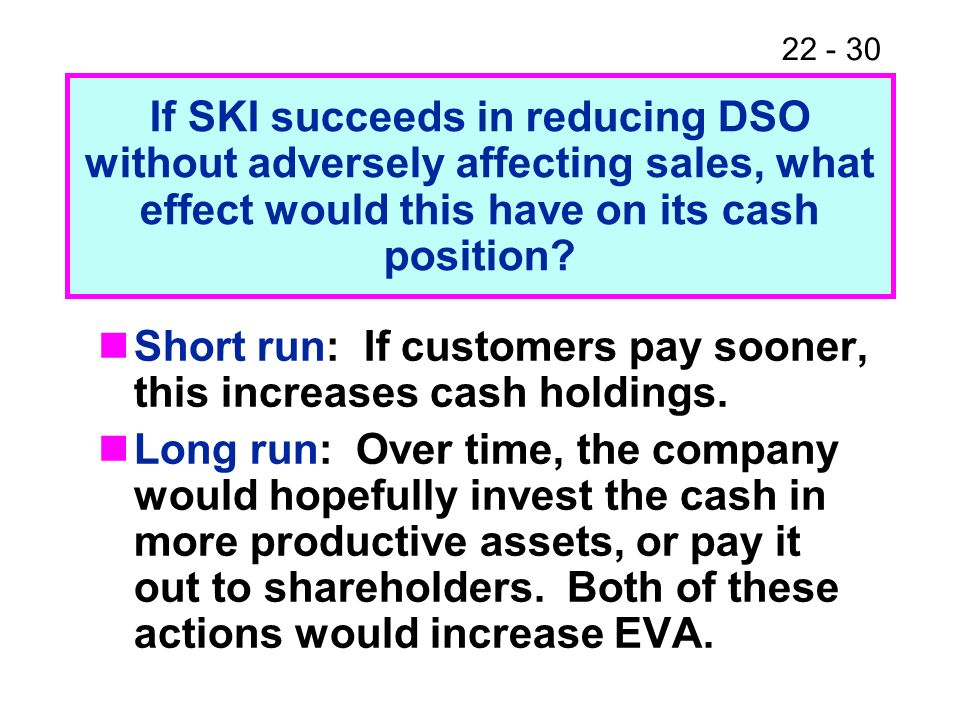 Short run: If customers pay sooner, this increases cash holdings.