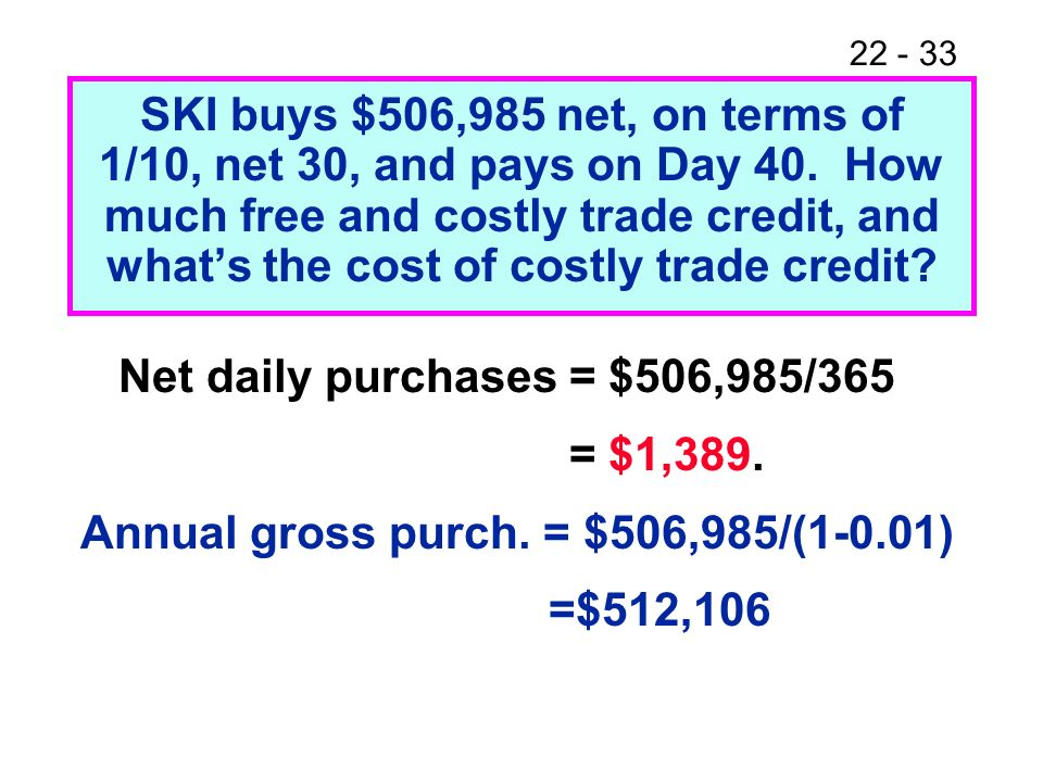 SKI buys $506,985 net, on terms of 1/10, net 30, and pays on Day 40