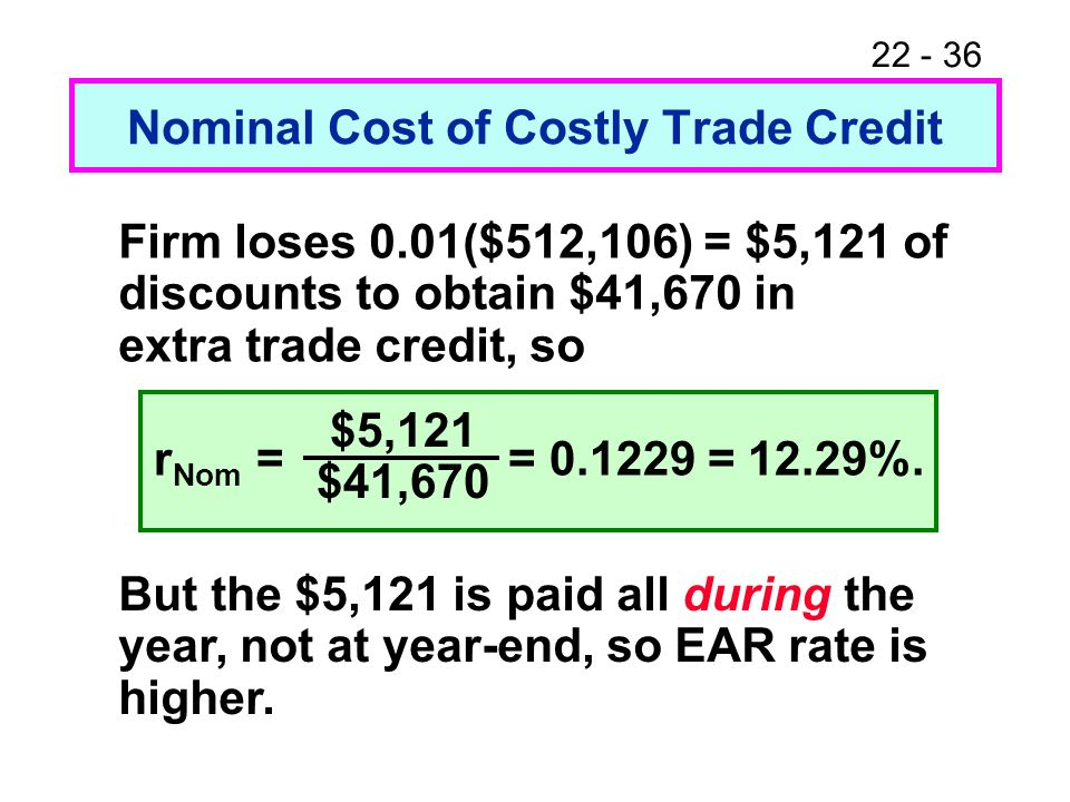 Nominal Cost of Costly Trade Credit