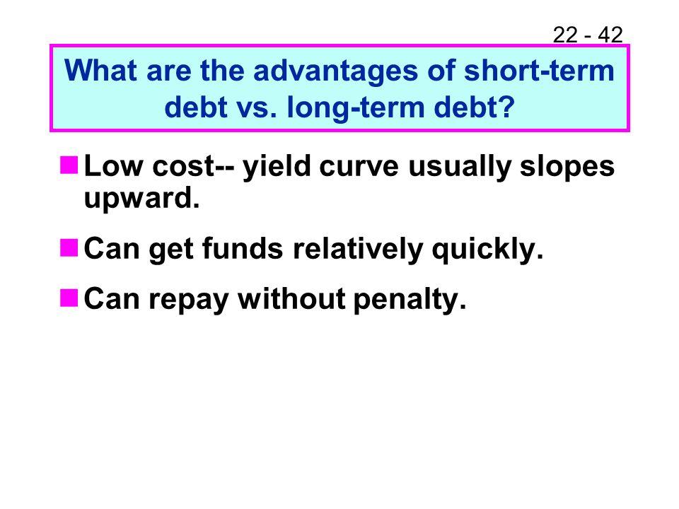What are the advantages of short-term debt vs. long-term debt