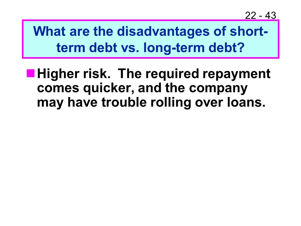 What are the disadvantages of short-term debt vs. long-term debt