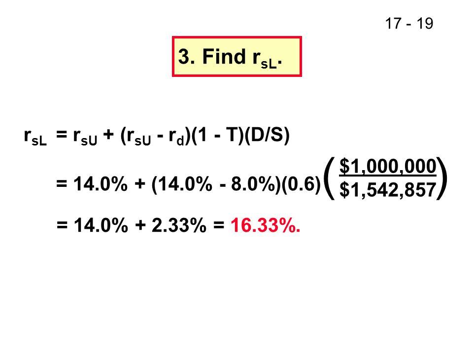 3. Find rsL. rsL = rsU + (rsU - rd)(1 - T)(D/S)