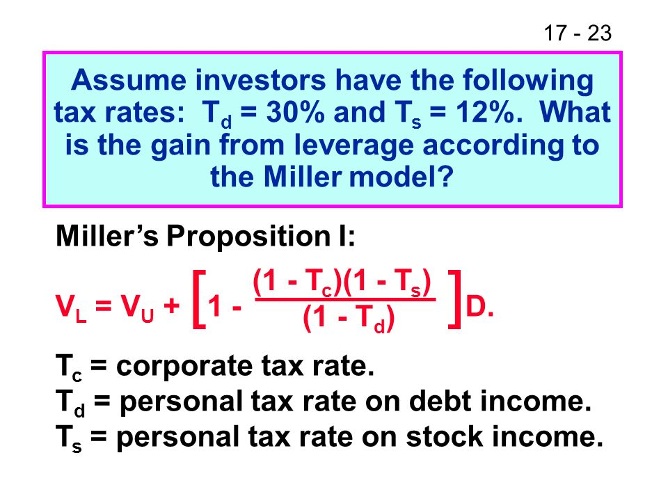 Assume investors have the following tax rates: Td = 30% and Ts = 12%