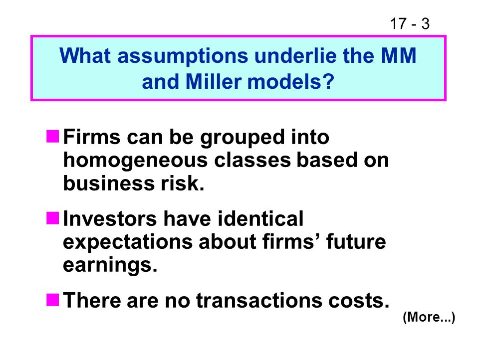 What assumptions underlie the MM and Miller models