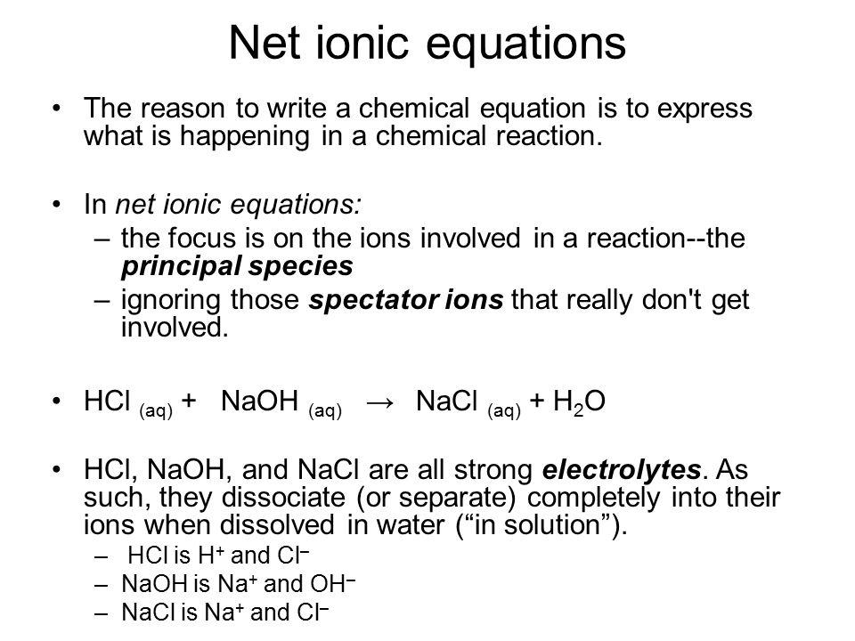 writing net ionic equations calculator