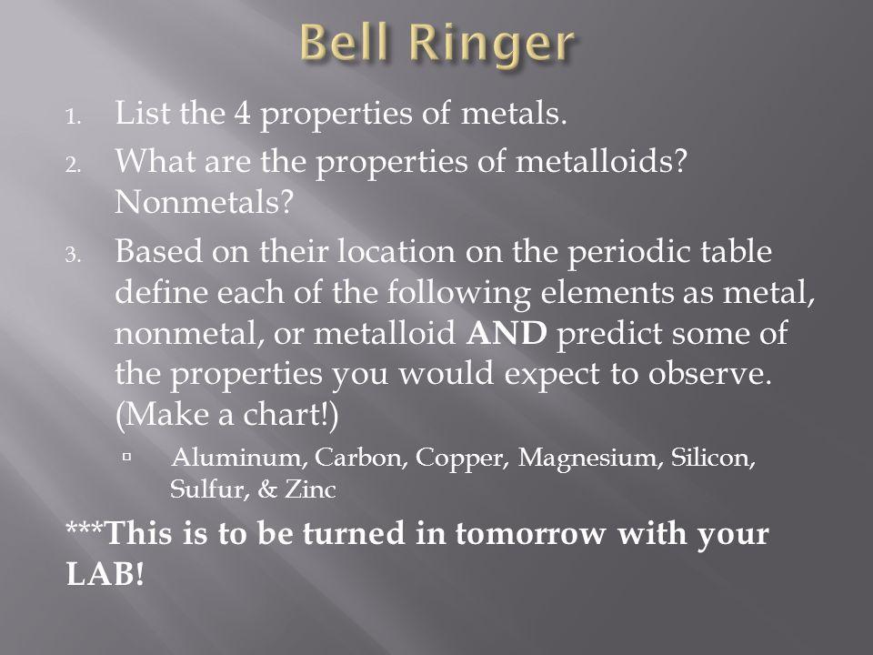 Bell Ringer List The 4 Properties Of Metals Ppt Video Online Download