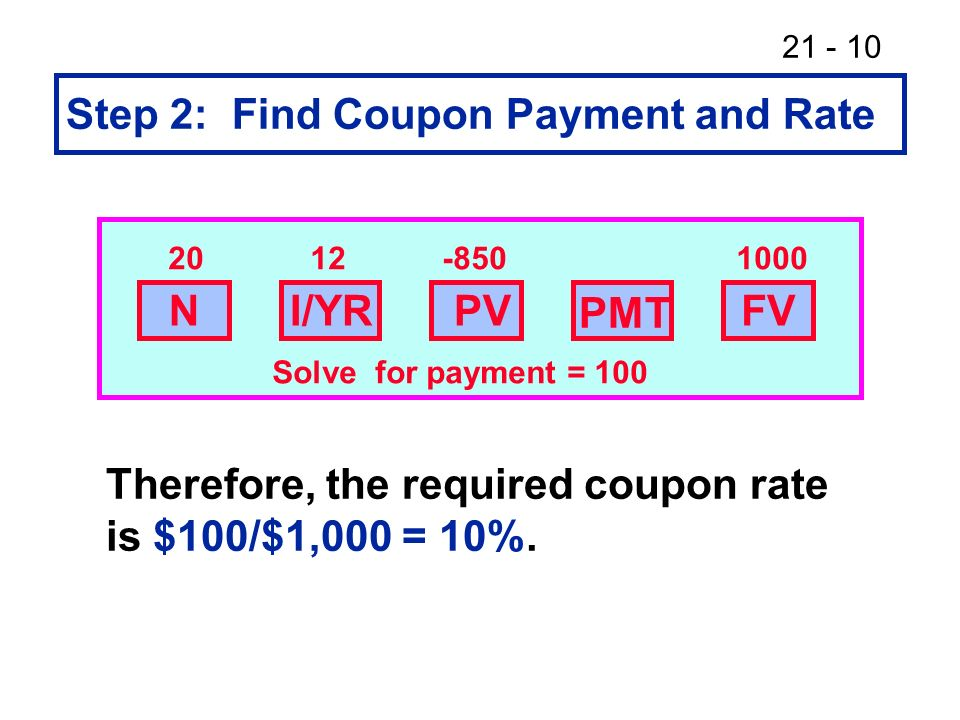 Step 2: Find Coupon Payment and Rate