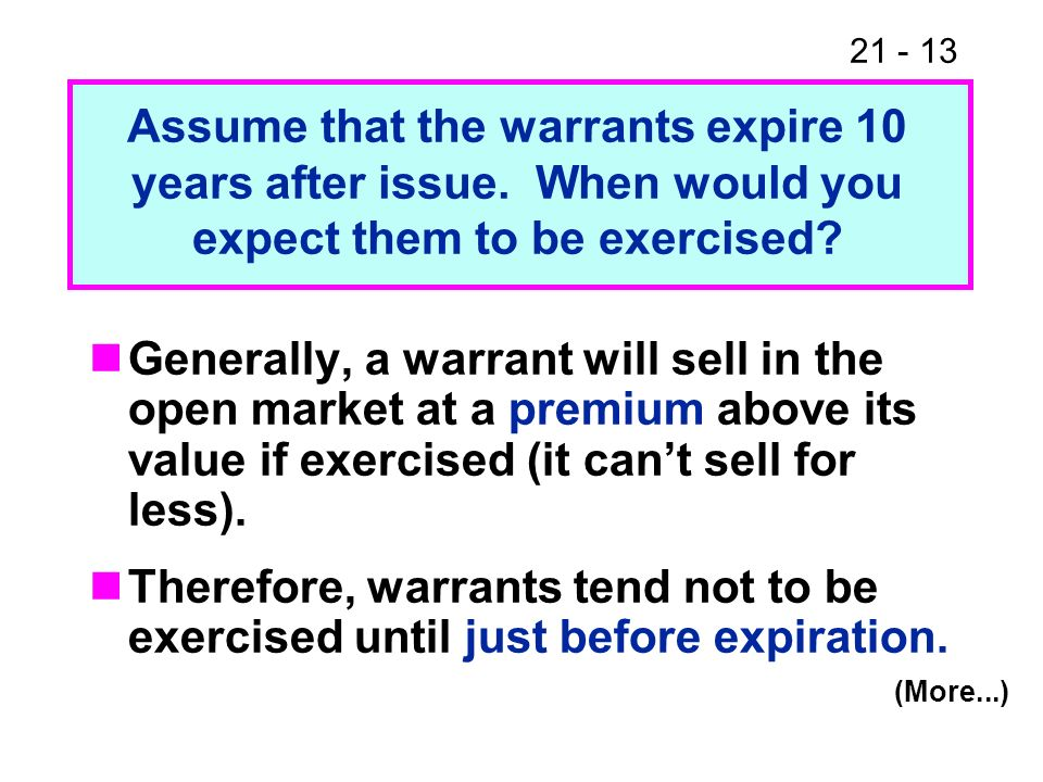 Assume that the warrants expire 10 years after issue
