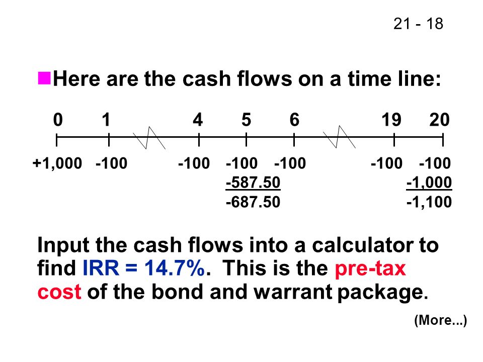Here are the cash flows on a time line: