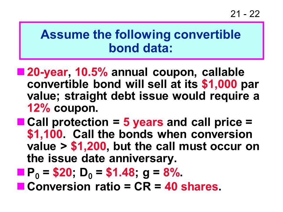 Assume the following convertible bond data: