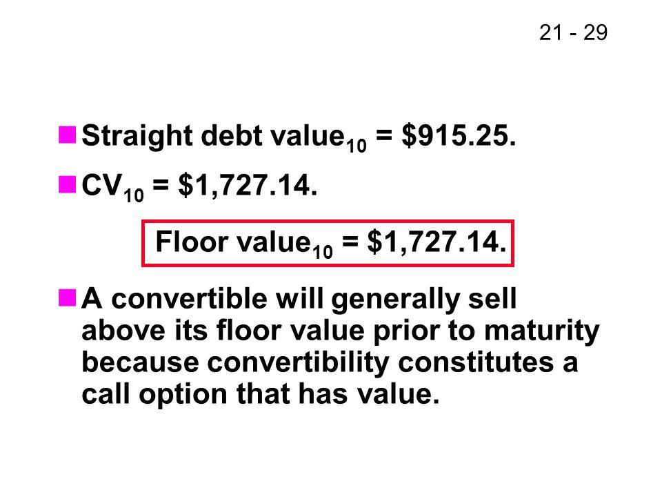 Straight debt value10 = $915.25. CV10 = $1,727.14. Floor value10 = $1,727.14.