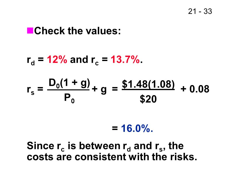 Check the values: rd = 12% and rc = 13.7%. rs = + g = + 0.08.
