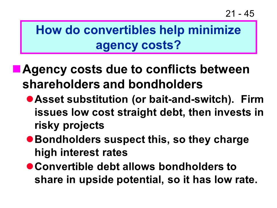 How do convertibles help minimize agency costs