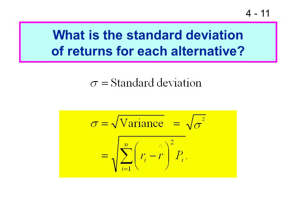 What is the standard deviation of returns for each alternative
