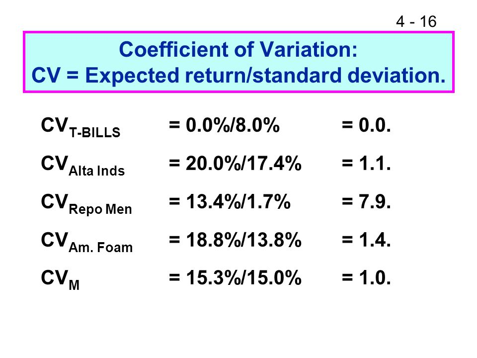 Coefficient of Variation: CV = Expected return/standard deviation.