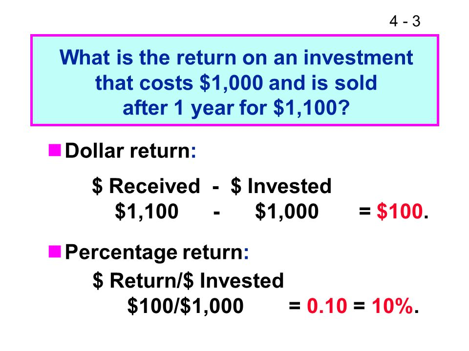 What is the return on an investment that costs $1,000 and is sold after 1 year for $1,100