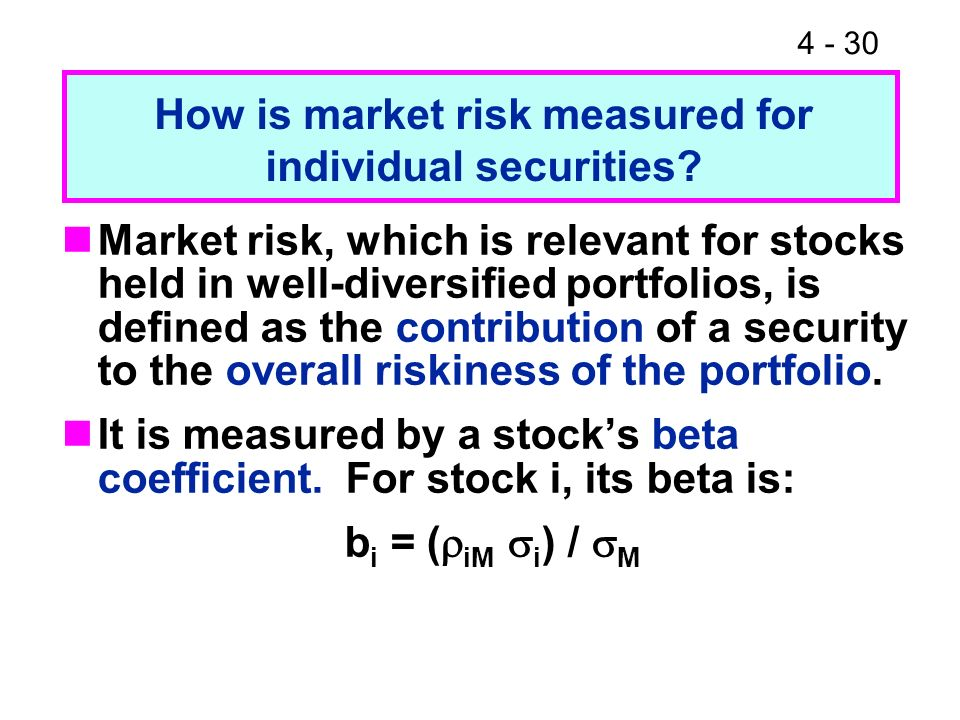 How is market risk measured for individual securities
