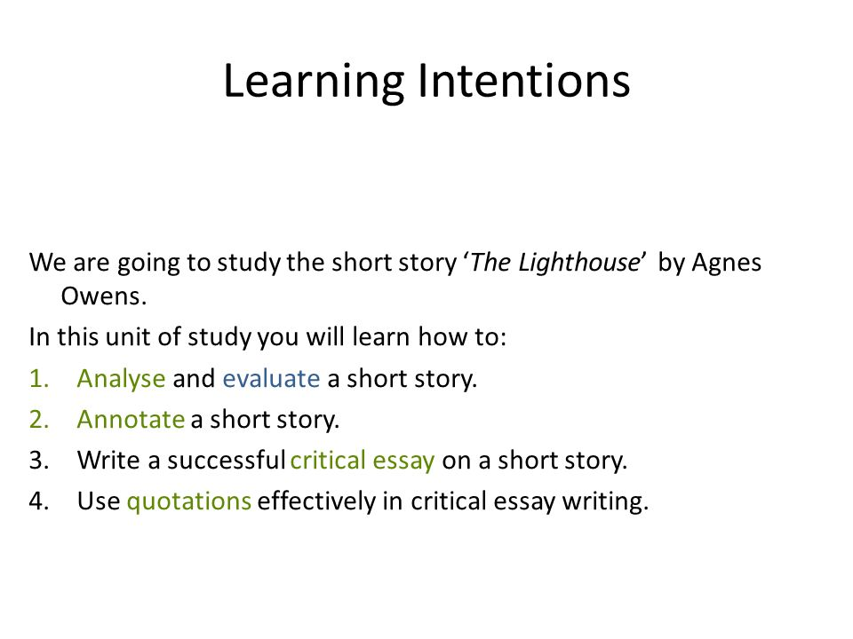 the lighthouse by agnes owens ppt  learning intentions we are going to study the short story the lighthouse by agnes