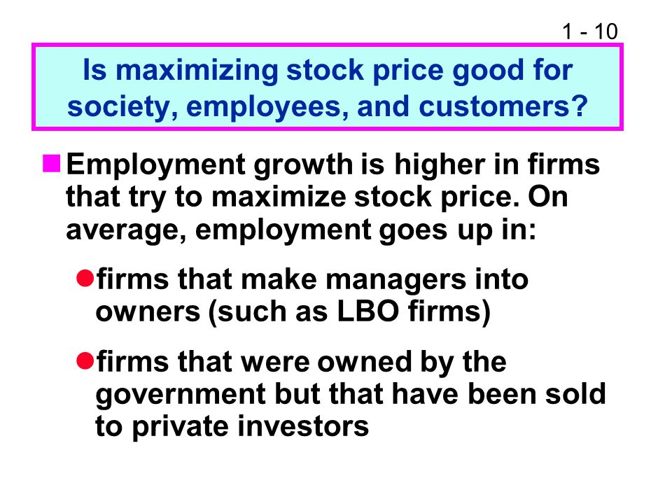 Is maximizing stock price good for society, employees, and customers
