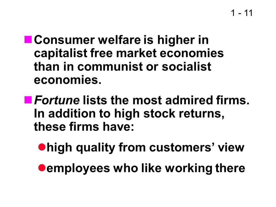 Consumer welfare is higher in capitalist free market economies than in communist or socialist economies.
