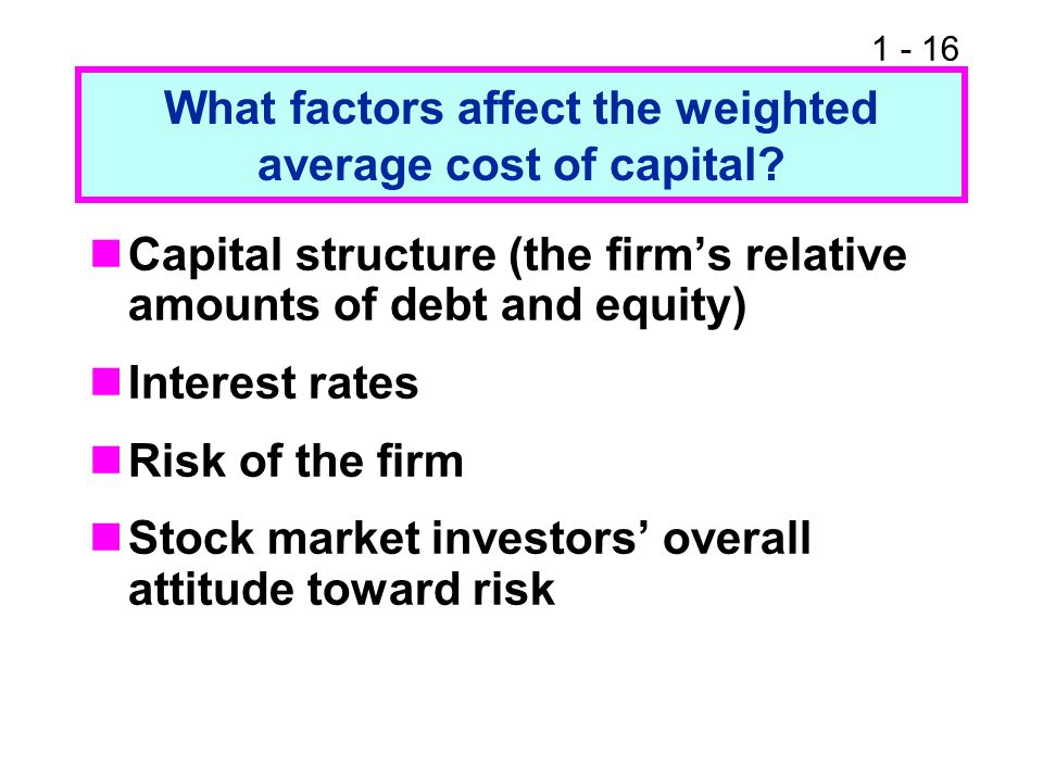 What factors affect the weighted average cost of capital