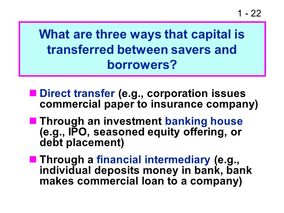 What are three ways that capital is transferred between savers and borrowers
