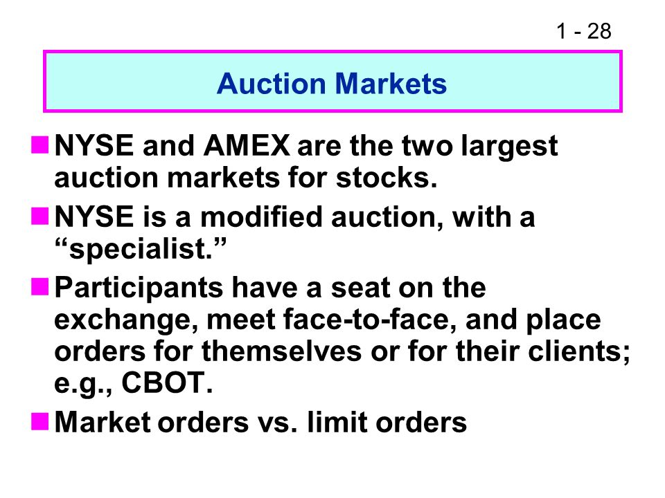 Auction Markets NYSE and AMEX are the two largest auction markets for stocks. NYSE is a modified auction, with a specialist.