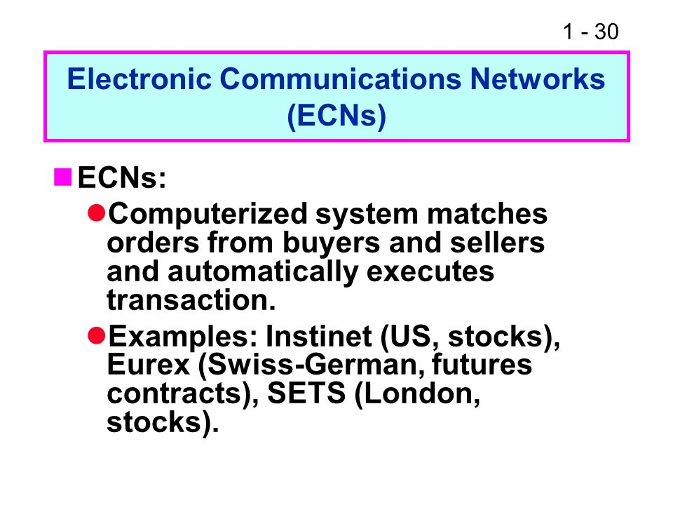 Electronic Communications Networks (ECNs)