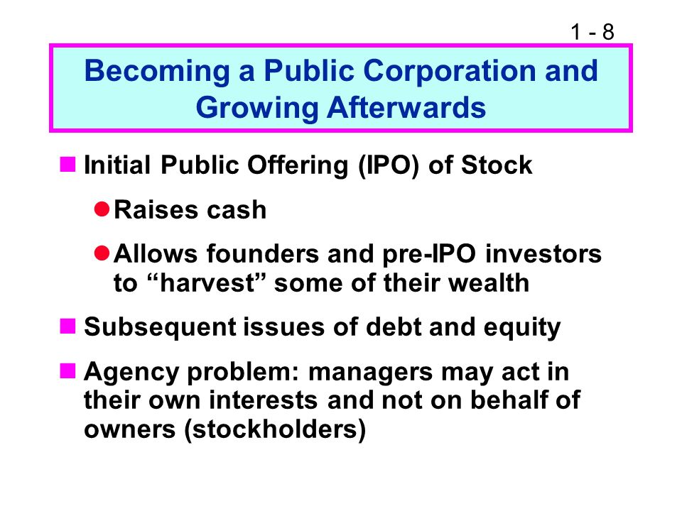 Becoming a Public Corporation and Growing Afterwards
