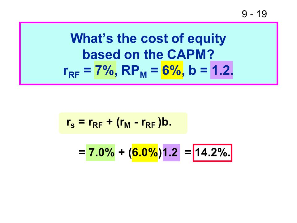 What's the cost of equity based on the CAPM. rRF = 7%, RPM = 6%, b = 1