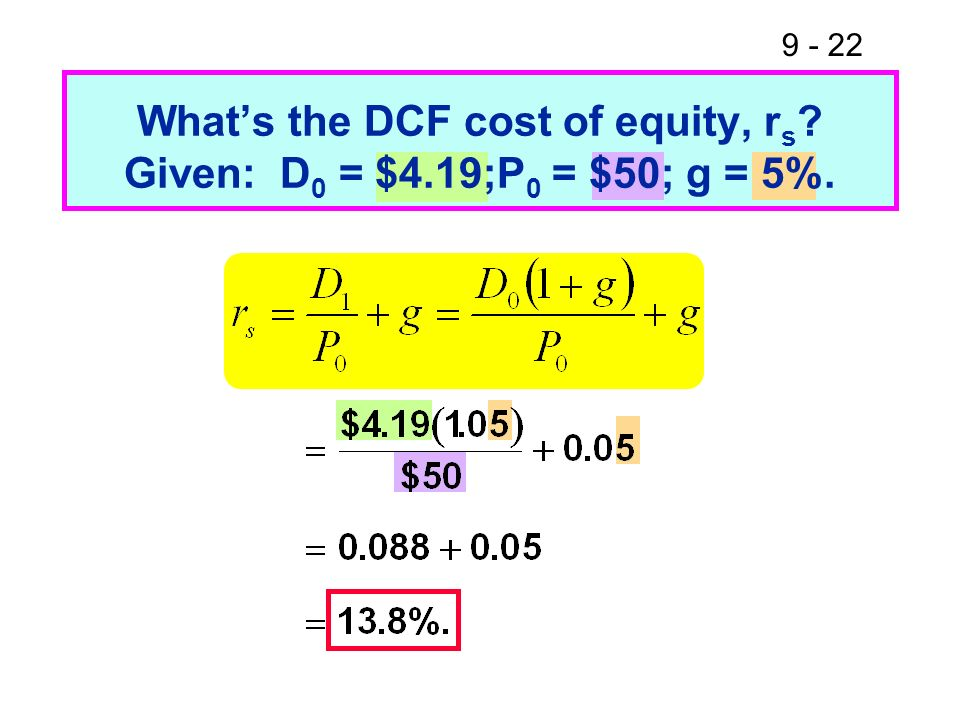 What's the DCF cost of equity, rs Given: D0 = $4.19;P0 = $50; g = 5%.