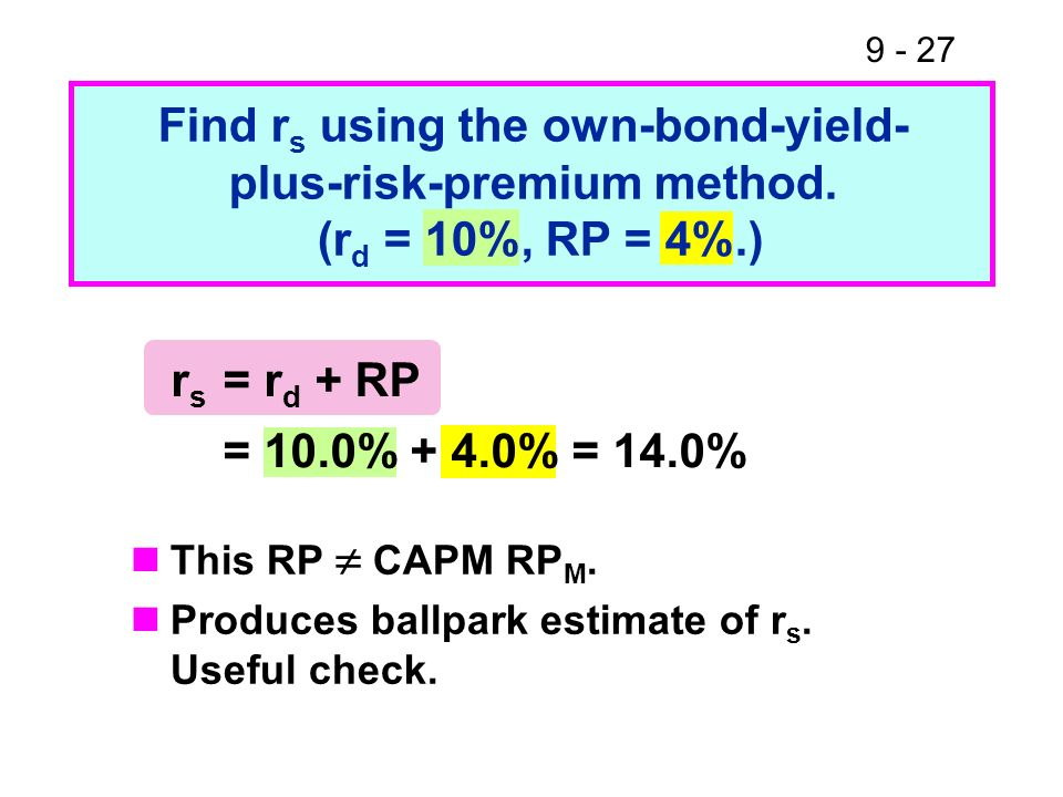 Find rs using the own-bond-yield- plus-risk-premium method