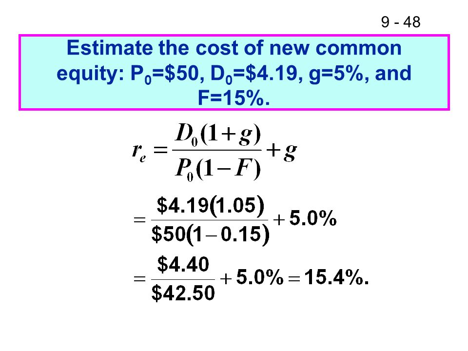 Estimate the cost of new common equity: P0=$50, D0=$4