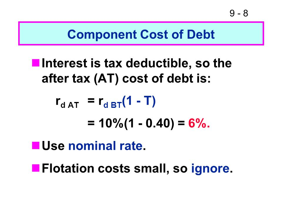 Component Cost of DebtInterest is tax deductible, so the after tax (AT) cost of debt is: rd AT = rd BT(1 - T)