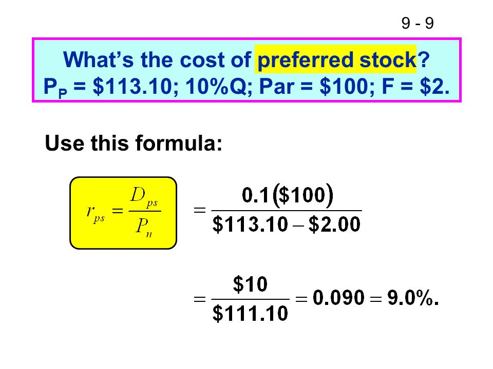 What's the cost of preferred stock. PP = $113