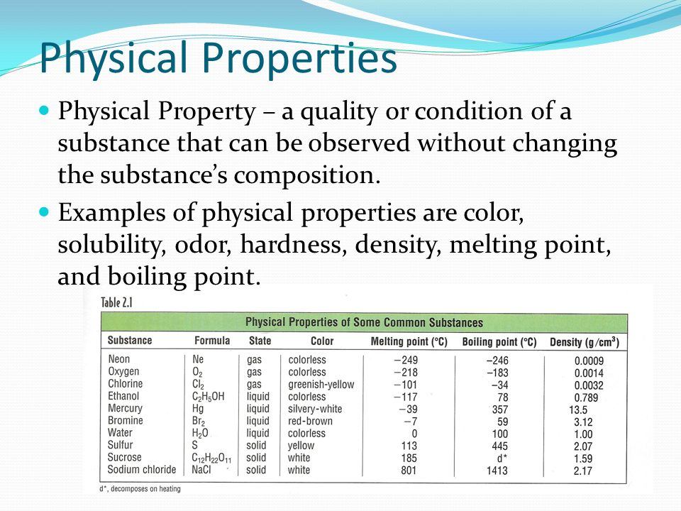 Physical Properties Physical Property – a quality or condition of a substance that can be observed without changing the substance's composition.