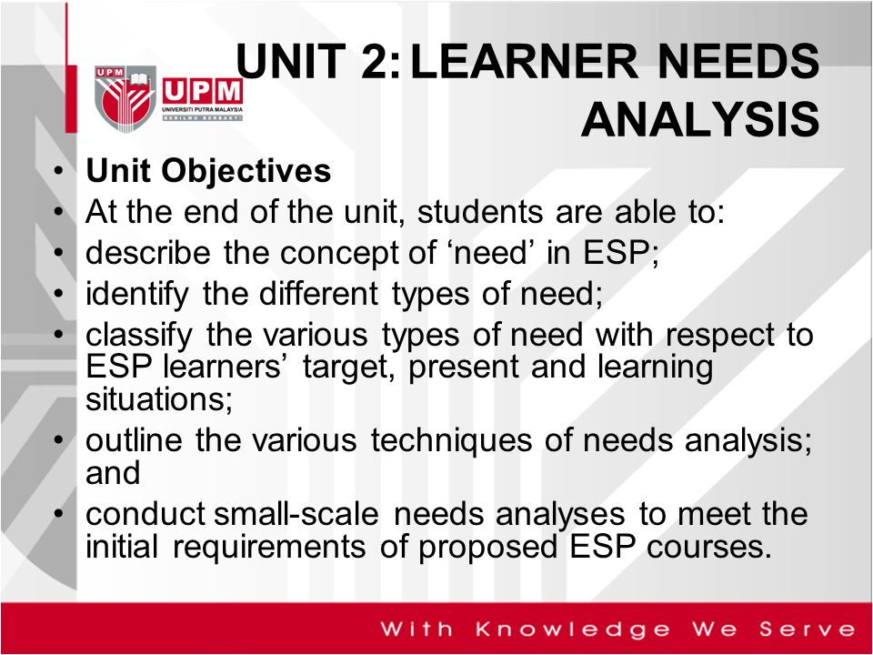Unit  Learner Needs Analysis  Ppt Video Online Download