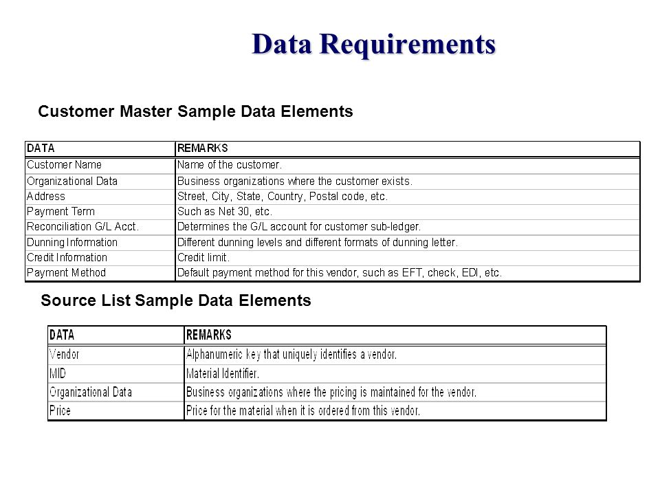 Data Requirements Customer Master Sample Data Elements