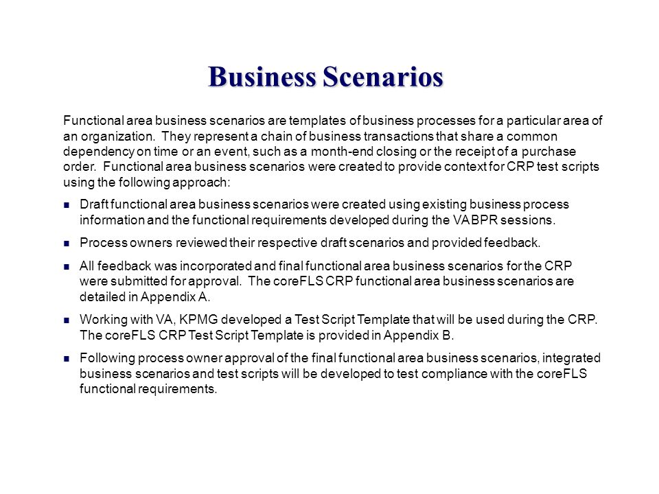 Business Scenarios